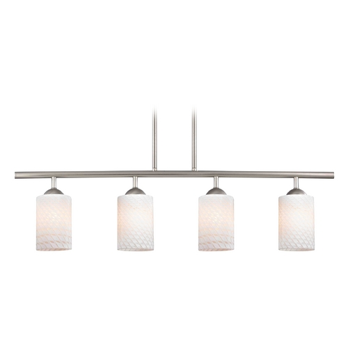 Design Classics Lighting Modern Island Light with White Glass in Satin Nickel Finish 718-09 GL1020C
