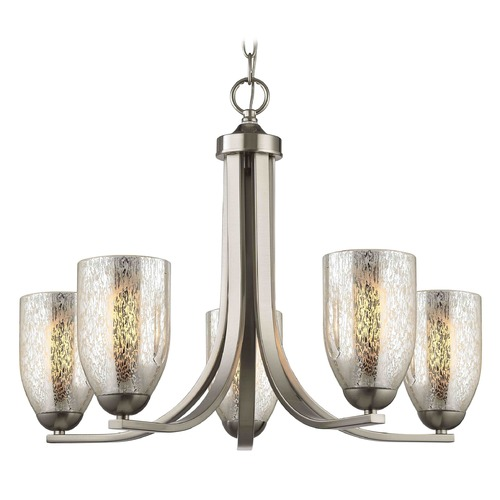 Design Classics Lighting Satin Nickel Chandelier with Mercury Dome Glass and 5-Lights 584-09 GL1039D