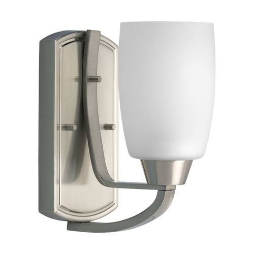 Progress Lighting Progress Sconce Wall Light with White Glass in Brushed Nickel Finish P2794-09