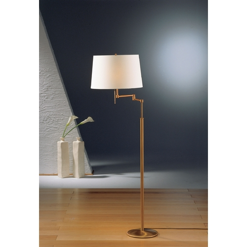 Holtkoetter Lighting Holtkoetter Modern Swing Arm Lamp with White Shades in Antique Brass Finish 2541 AB SWRG