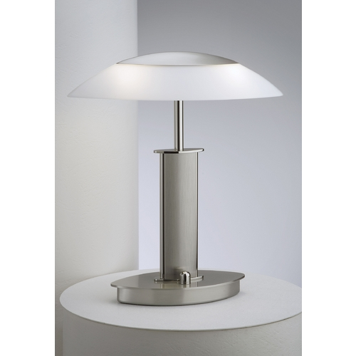 Holtkoetter Lighting Holtkoetter Modern Table Lamp with White Glass in Polished Nickel/satin Nickel Finish 6244 PNSN SW