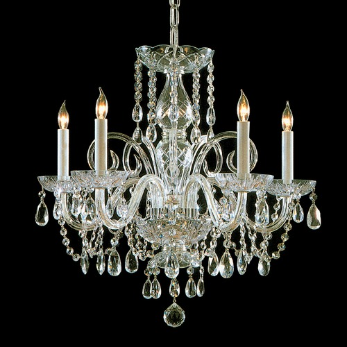 Crystorama Lighting Crystorama Traditional 5-Light Crystal Chandelier in Polished Brass 1005-PB-CL-S