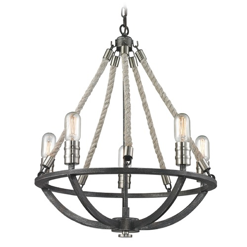 Elk Lighting Elk Lighting Natural Rope Silvered Graphite/polished Nickel Accents Mini-Chandelier 63056-5