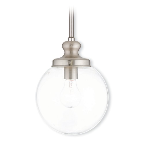Livex Lighting Livex Lighting Sheffield Brushed Nickel Mini-Pendant Light with Globe Shade 50902-91