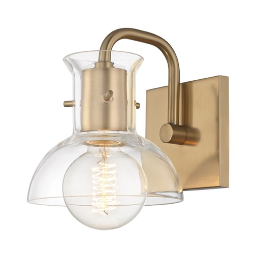 Mitzi by Hudson Valley Riley Aged Brass Sconce Mitzi by Hudson Valley H111301-AGB