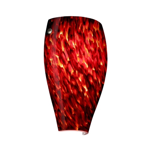 Besa Lighting Sconce Wall Light with Red Glass in Satin Nickel Finish 704341-SN