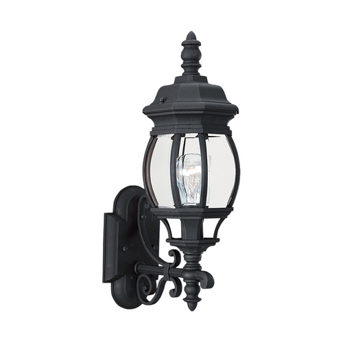 Sea Gull Lighting Outdoor Wall Light with Clear Glass in Black Finish 88200-12