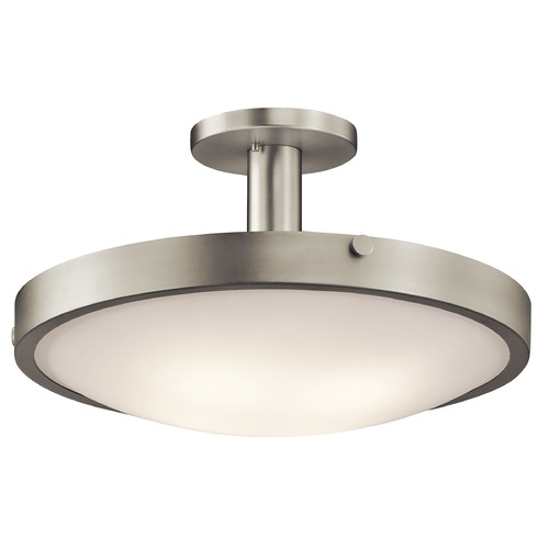 Kichler Lighting Kichler Brushed Nickel Semi-Flushmount Light with White Glass 42246NI