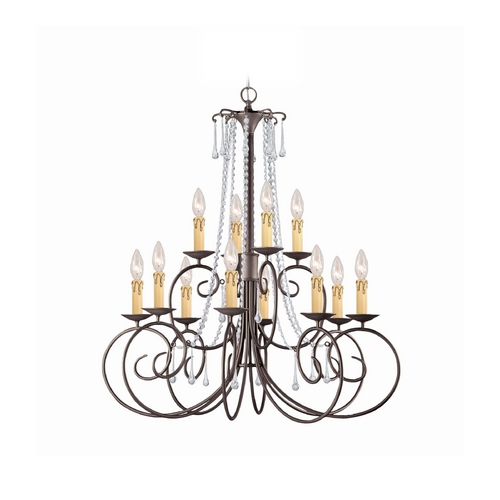 Crystorama Lighting Crystal Chandelier in Dark Rust Finish 5212-DR-CL-SAQ