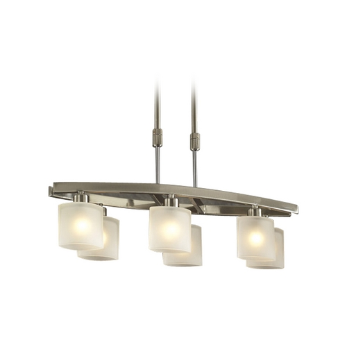 PLC Lighting Modern Island Light with White Glass in Satin Nickel Finish 649 SN