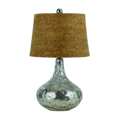 AF Lighting Modern Table Lamp with Brown Cork Shade in Antique Silver Finish 8264-TL