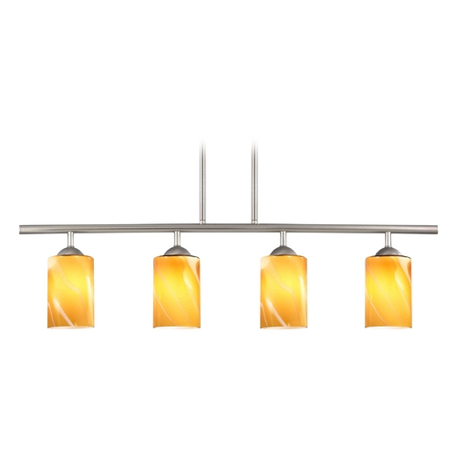 Design Classics Lighting Modern Linear Pendant Light with 4-Lights and Butterscotch Art Glass in Satin Nickel Finish 718-09 GL1022C
