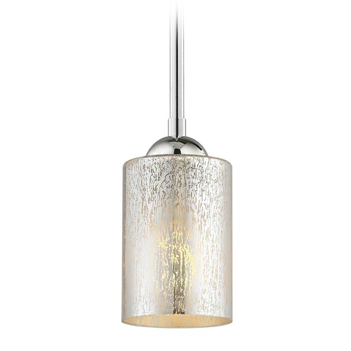 Design Classics Lighting Design Classics Gala Fuse Chrome LED Mini-Pendant Light with Cylindrical Shade 681-26 GL1039C