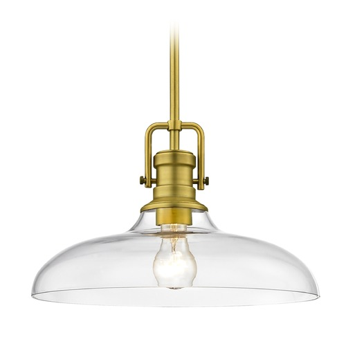 Design Classics Lighting Industrial Clear Glass Pendant Light Satin Brass  14-Inch Wide 1763-12 G1784-CL