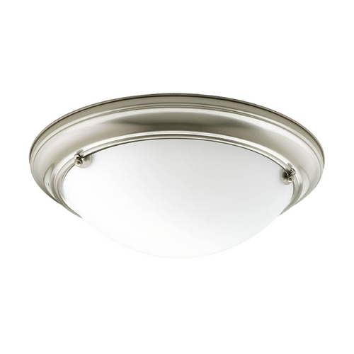 Progress Lighting Flushmount Light with White Glass in Brushed Nickel Finish P3561-09