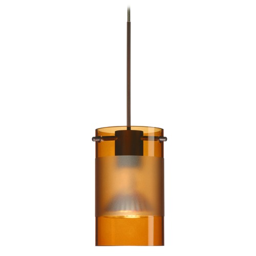 Besa Lighting Besa Lighting Scope Bronze LED Mini-Pendant Light with Cylindrical Shade 1XT-6524EG-LED-BR