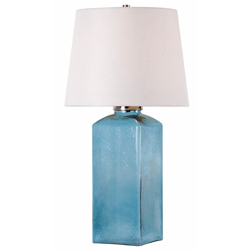 Kenroy Home Lighting Kenroy Home Lighting Juniper Blue Glass Table Lamp with Drum Shade 32578BLU