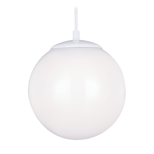 Sea Gull Lighting Mid-Century Modern LED Mini-Pendant Light White Hanging Globe by Sea Gull Lighting 602091S-15