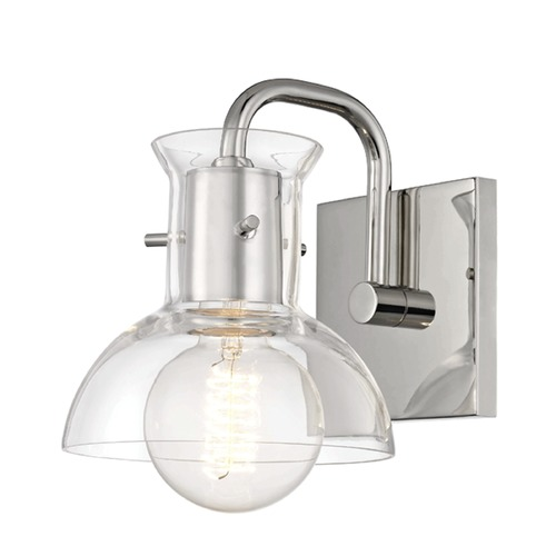 Mitzi by Hudson Valley Riley Polished Nickel Sconce Mitzi by Hudson Valley H111301-PN