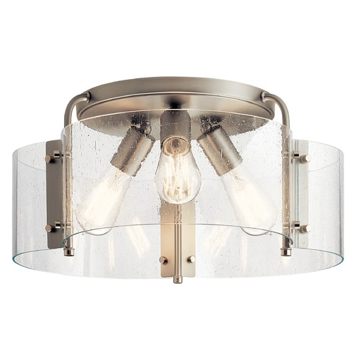 Kichler Lighting Thoreau Brushed Nickel Large Semi-Flushmount Light with Clear Seeded Glass 42955NI