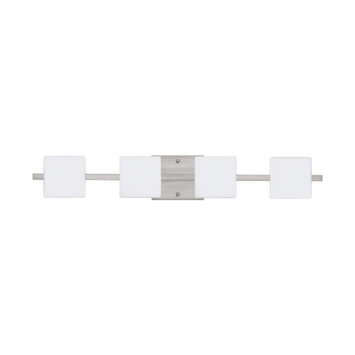 Besa Lighting Modern Bathroom Light with White Glass in Satin Nickel Finish 4WS-773507-SN
