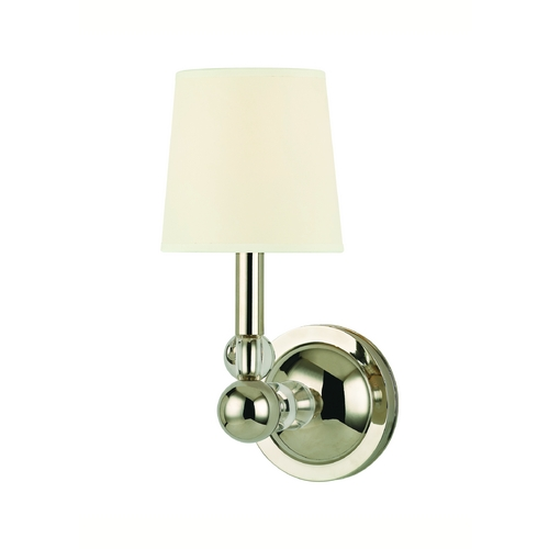 Hudson Valley Lighting Sconce Wall Light with White Shade in Polished Nickel Finish 3100-PN-WS