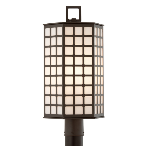 Troy Lighting Post Light with White Glass in Bronze Finish P3415