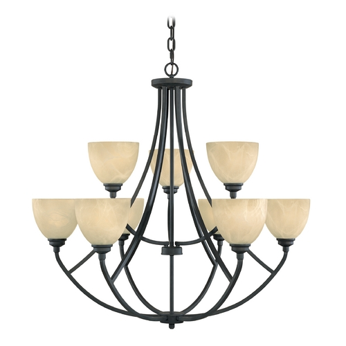 Designers Fountain Lighting Chandelier with Alabaster Glass in Burnished Bronze Finish 82989-BNB