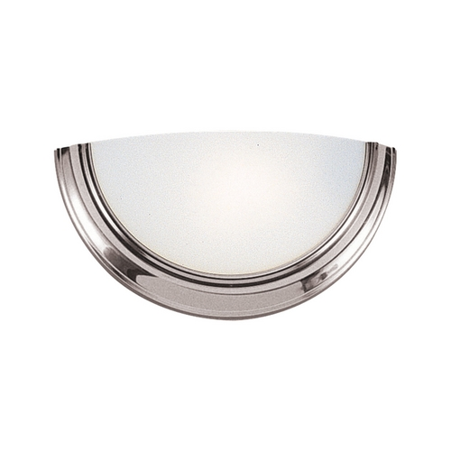 Sea Gull Lighting Modern Sconce Wall Light with White Glass in Brushed Nickel Finish 4936BLE-962