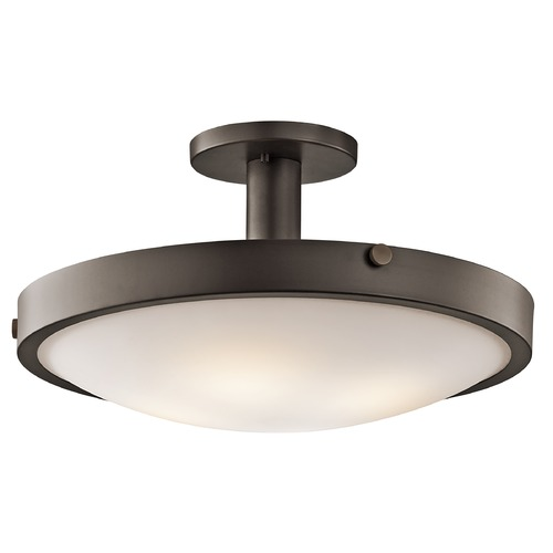Kichler Lighting Kichler Semi-Flushmount Light with White Glass in Olde Bronze Finish 42246OZ