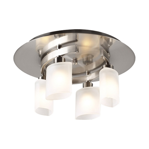 PLC Lighting Modern Flushmount Light with White Glass in Satin Nickel Finish 648 SN