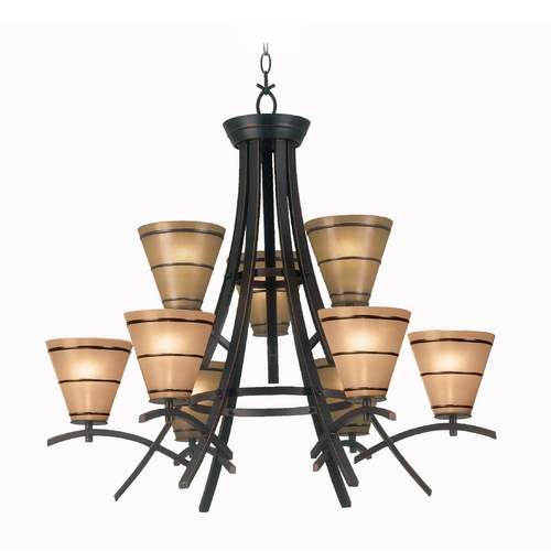 Kenroy Home Lighting Chandelier with Amber Glass in Oil Rubbed Bronze Finish 90089ORB
