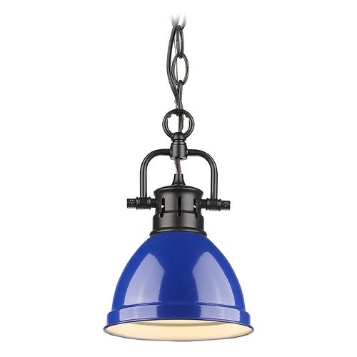 Golden Lighting Golden Lighting Duncan Black Mini-Pendant Light with Blue Shade 3602-M1LBLK-BE