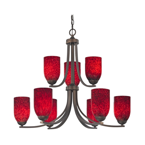 Design Classics Lighting Contemporary Chandelier with Red Art Glass and Nine Lights 586-220 GL1018D