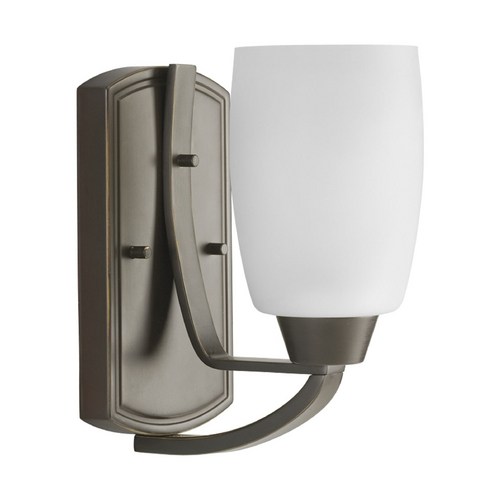 Progress Lighting Progress Sconce Wall Light with White Glass in Antique Bronze Finish P2794-20EBWB
