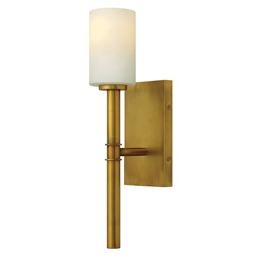 Hinkley Lighting Sconce Wall Light with White Glass in Vintage Brass Finish 3580VS