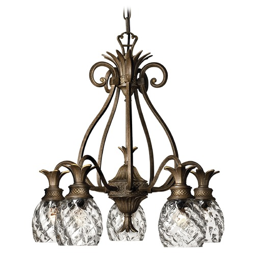 Hinkley 5-Light Pearl Bronze Pineapple Chandelier with Clear Glass 4885PZ