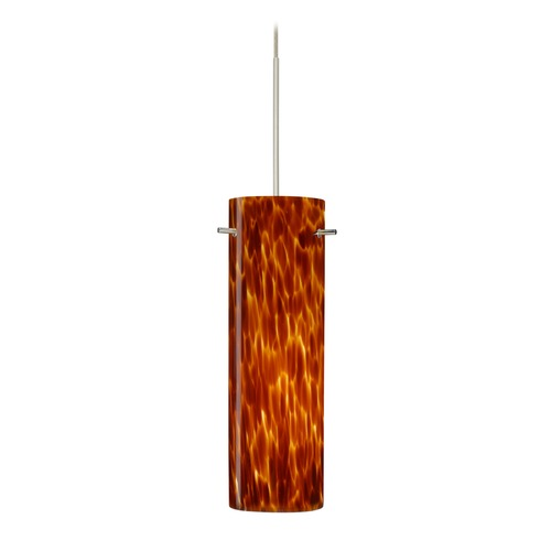 Besa Lighting Besa Lighting Copa Satin Nickel Mini-Pendant Light with Cylindrical Shade 1XT-493018-SN