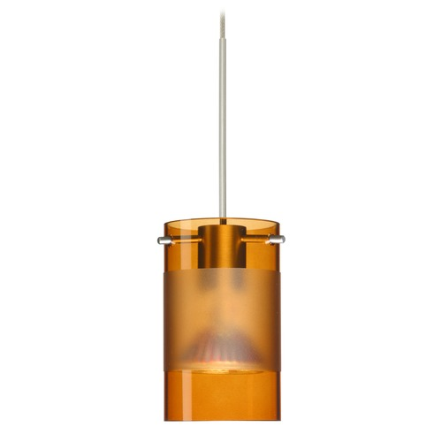 Besa Lighting Besa Lighting Scope Amber Frosted Glass Satin Nickel LED Mini-Pendant Light 1XT-6524EG-LED-SN