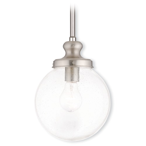 Livex Lighting Livex Lighting Northampton Brushed Nickel Mini-Pendant Light with Globe Shade 50912-91
