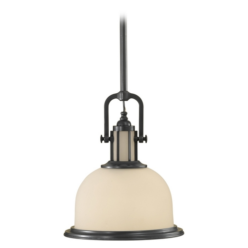Feiss Lighting Pendant Light with White Glass P1146DBZ