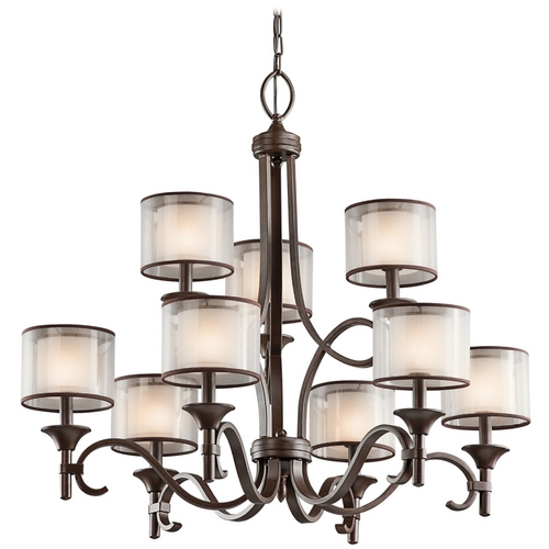 Kichler Lighting Kichler Chandelier with White Glass in Mission Bronze Finish 42382MIZ