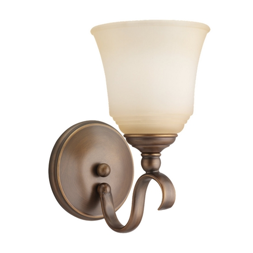 Sea Gull Lighting Sconce Wall Light with Beige / Cream Glass in Russet Bronze Finish 49380BLE-829