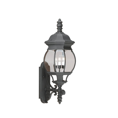 Sea Gull Lighting Outdoor Wall Light with Clear Glass in Black Finish 88202-12