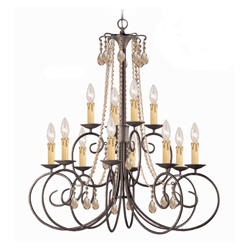 Crystorama Lighting Crystal Chandelier in Dark Rust Finish 5212-DR-GTS