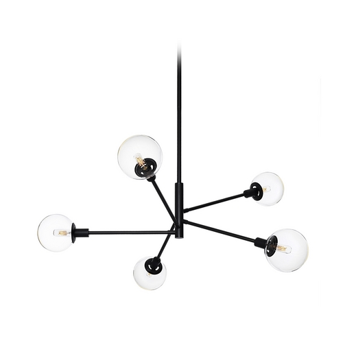Sonneman Lighting Mid-Century Modern Pendant Light Black Clear Glass Globe by Sonneman 4595.25C