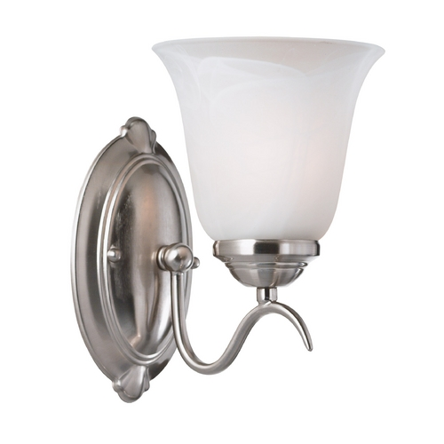 Kenroy Home Lighting Modern Sconce Wall Light with Alabaster Glass in Brushed Steel Finish 90211BS