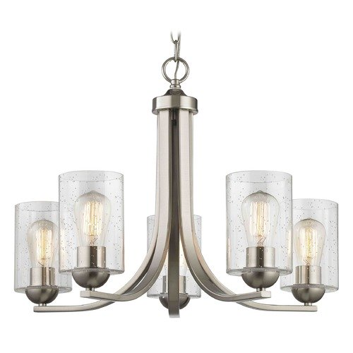 Design Classics Lighting Seeded Glass Chandelier Satin Nickel 5 Lt 584-09 GL1041C