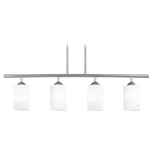 Design Classics Lighting Modern Island Light with White Glass in Satin Nickel Finish 718-09 GL1028C