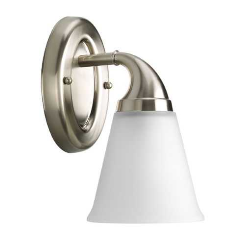 Progress Lighting Progress Sconce Wall Light with White Glass in Brushed Nickel Finish P2758-09